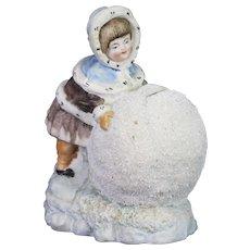 Antique Rare German Bisque Christmas Winter Snowbaby Bank ca1900