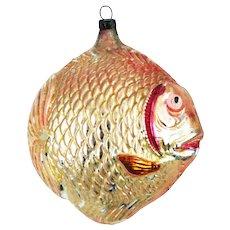 Antique German Blown Glass Blow Fish Christmas Ornament ca1910