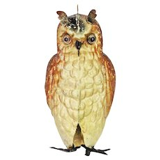 Antique German Dresden Owl with Glass Eyes Christmas Ornament ca1910