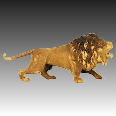 Antique German Dresden Lion with Glass Eyes Christmas Ornament ca1910