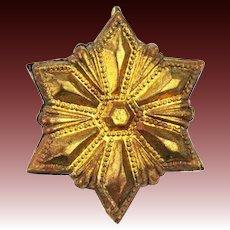 Antique German Dresden Gold Star Christmas Ornament ca1910