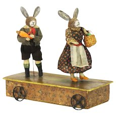Antique German Musical Mechanical Pull Toy Easter Bunny Rabbits ca1910