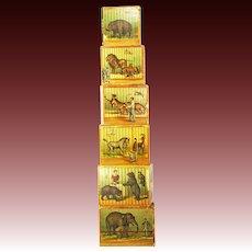 Antique Rare Set of McLoughlin Bros ABC Circus Animal Stacking Nesting Blocks ca1890