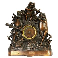 Antique Rare Cast Bronze Frog Musician Clock ca1910