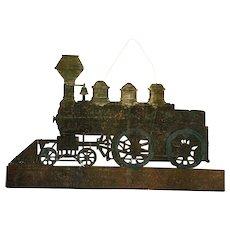 Antique Large German Dresden Flat Train Locomotive Christmas Ornament ca1890