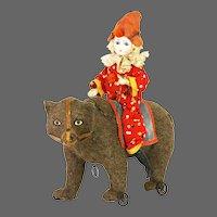 Antique German Clown on Bear Pull Toy ca1890