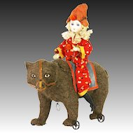 Antique German Clown on Bear Pull Toy ca1890