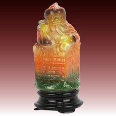 "Tiffin Glass 10"" Santa Lamp ca1920"