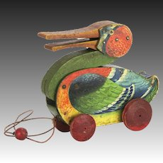 Vintage All Fair Toys & Games Quacking Duck Pull Toy ca1926
