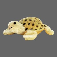 Vintage Velveteen and Mohair Turtle Pin Cushion and Tape Measure ca1920