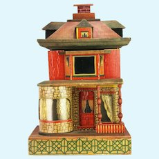 Antique Paper Litho Wood Doll House ca1910