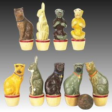 Antique Early German Paper Mache Skittles Set ca1900