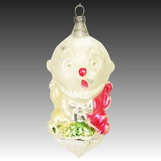 Antique German Blown Glass Clown Christmas Ornament ca1910