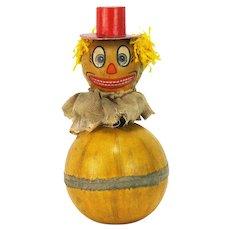 Antique German Halloween Roly Poly Nodder Bobble Head Pumpkin Man ca1920