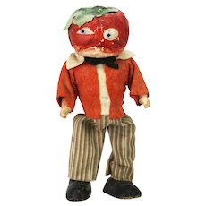 Antique German Halloween Wind Up Walking Tomato Head Man ca1920
