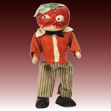 Antique German Halloween Wind Up Walking Tomato Head Man ca1920