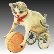 Antique German Wind Up Mechanical Rolling Cat playing with Ball Toy ca1910
