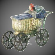 Antique Miniature Cast Metal Baby Carriage ca1900