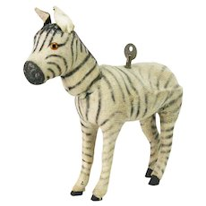 Antique German Wind Up Mechanical Zebra ca1920