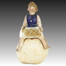Antique German Christmas Angel on Cotton Batting Snowball Candy Container ca1910
