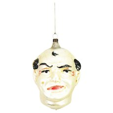 Antique German Large Blown Glass Male Face/Head Christmas Ornament ca1910