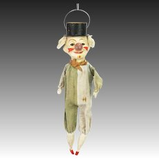 Antique Rare Early German Lantern Head Clown with Glass Nose ca1900
