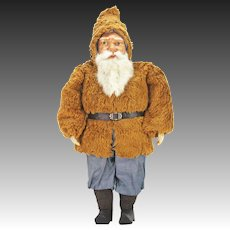 Antique Rare Early German Large Santa with Paper Mache Face ca1900