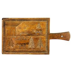 Antique Early Primitive Hand Carved Wood Butter Press Mold Print ca1875
