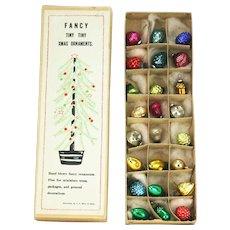 Vintage Miniature Blown Glass Christmas Ornaments ca1930