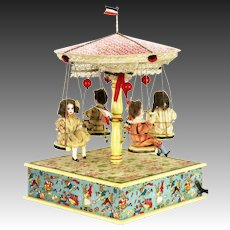 Antique German Mechanical Musical Merry Go Round with Bisque Dolls c1910