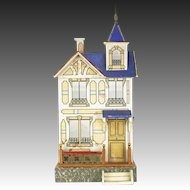 Antique German Blue Roof Gottschalk Doll House ca1910