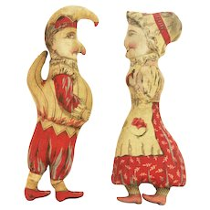 Antique Punch and Judy Printed Cloth Stuffed Dolls ca1880