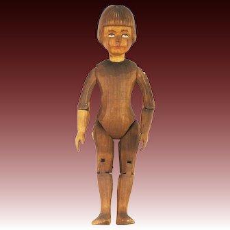 Vintage Swiss Linden Wood Carved Doll ca1930
