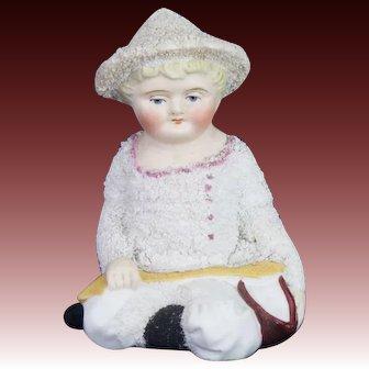 Antique German Bisque Snow Baby Figurine ca1910