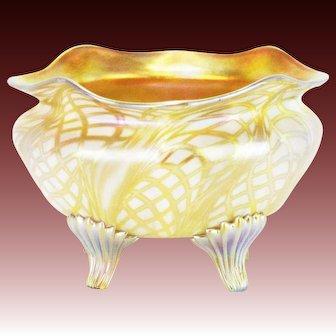 Antique Quezal Footed Bowl Art Glass ca1915