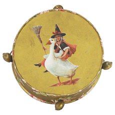 Antique German Mother Goose Tambourine Candy Container ca1910