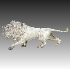 Antique German Dresden Silver Lion Christmas Ornament ca1910
