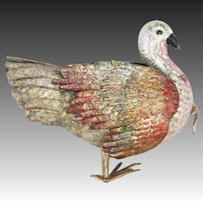Antique German Dresden Turkey Christmas Ornament ca1910