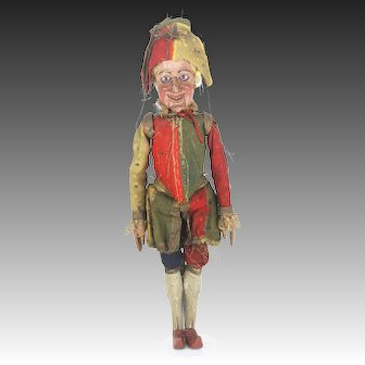 "Rare 24"" Antique Marionette Punch Character 18th Century"
