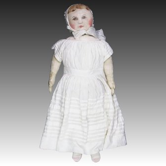 "Rare Large 30"" Antique Painted Cloth Columbian Doll"