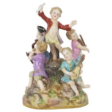 Antique Meissen Porcelain Figurine Children Musicians