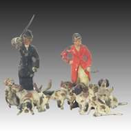 Antique Miniature Austrian Cold Painted Bronze Men with Fox Hunting Dogs