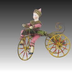 Antique German Mechanical Wind Up Rolling Bicycle with Bisque Head Rider ca1890
