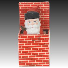 Antique German Paper Mache Santa in Chimney Jack in the Box ca1910