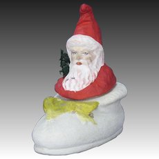 Antique German Paper Mache Santa in Shoe Candy Container ca1910