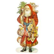 Antique German Santa Die Cut Display ca1880