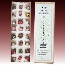 Vintage Miniature Blown Glass Christmas Tree Ornaments in Original Box ca1930