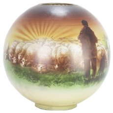 Antique Glass Globe Lamp Shade The Good Shepherd and His Flock ca1890