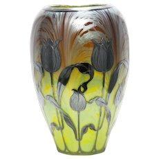 Moser Green & Gilt Art Glass Vase Circa 1900 Glass