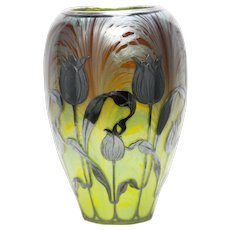 Antique Rare Loetz Titania Silver Overlay Art Glass Vase ca1900